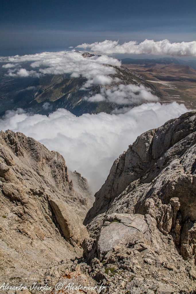 Depuis le Corno Grande (2912 m), Parc national du Gran Sasso e Monti della Laga